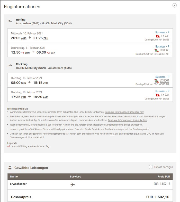 Preisbeispiel von Amsterdam nach Bangkok in der Edelweiss / Swiss Business-Class