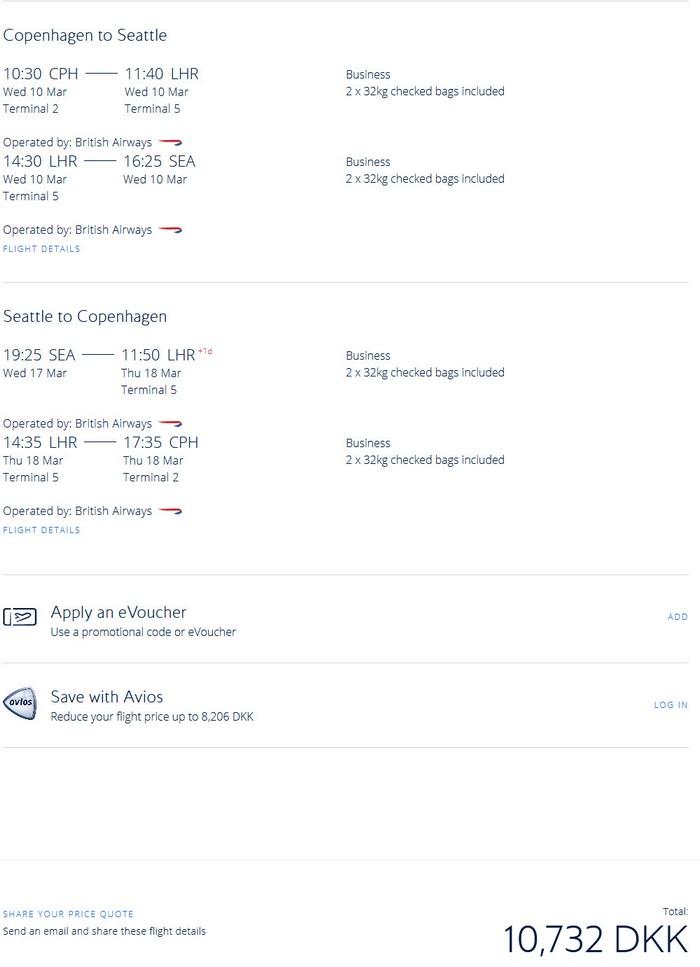 Preisbeispiel von Kopenhagen nach New York in der British Airways Business-Class
