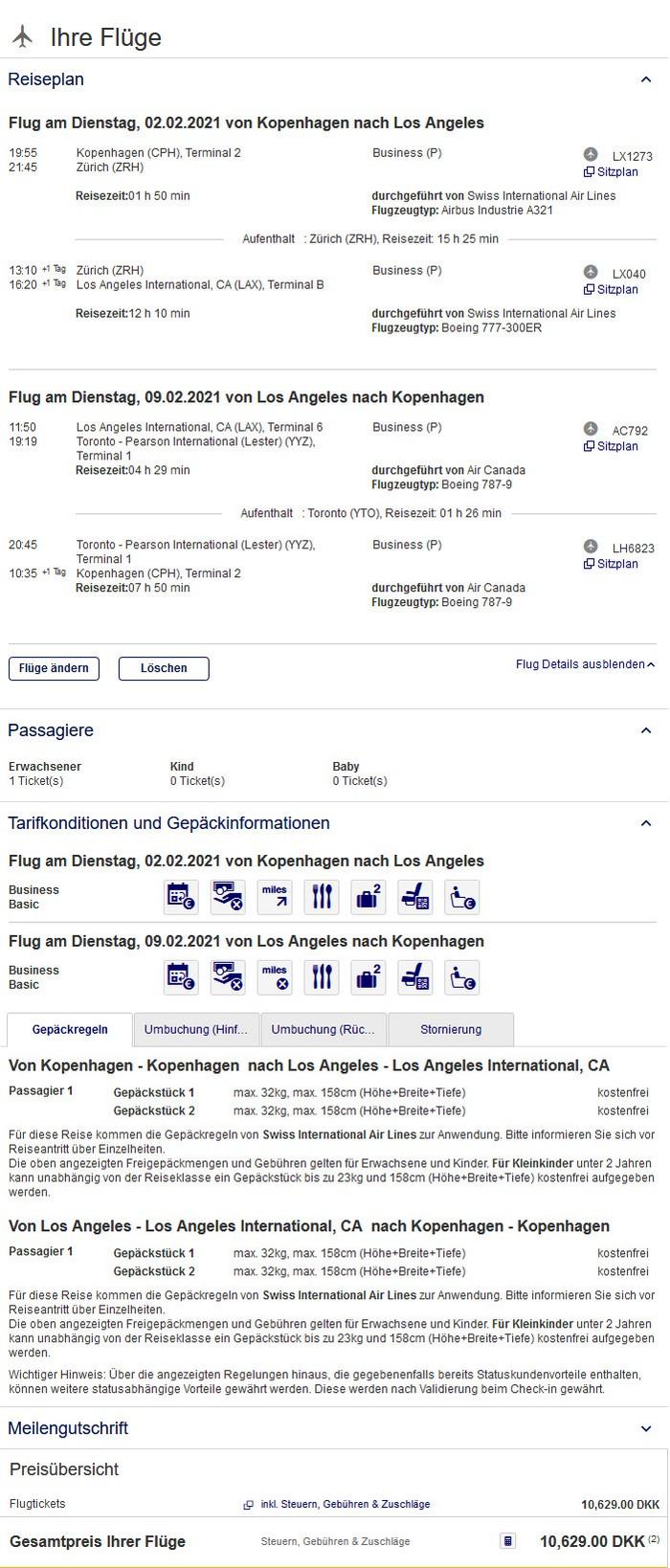 Preisbeispiel von Kopenhagen nach Los Angeles in der Swiss / Air Canada Business-Class