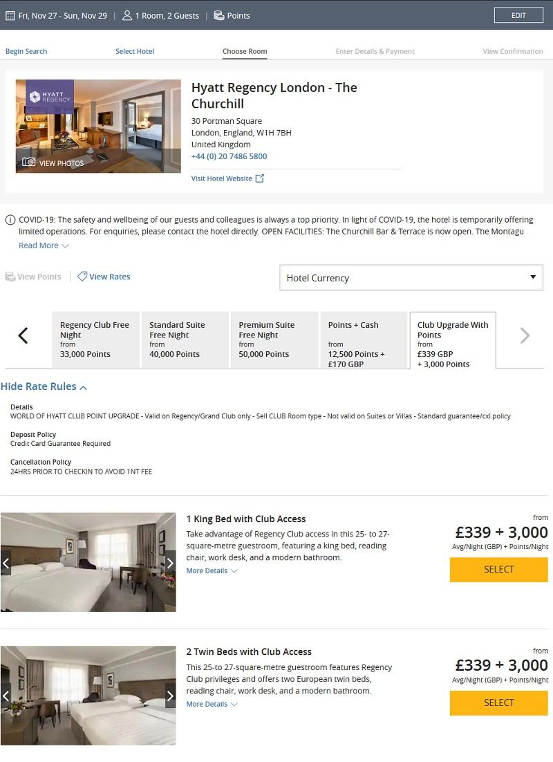 Raten für ein Punkteupgrade im Hyatt Regency London für ein Regency Club Zimmer