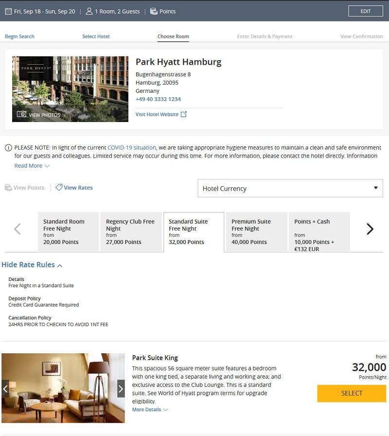 Raten mit Punkten im Park Hyatt Hamburg für Suiten und Regency Club Zimmer