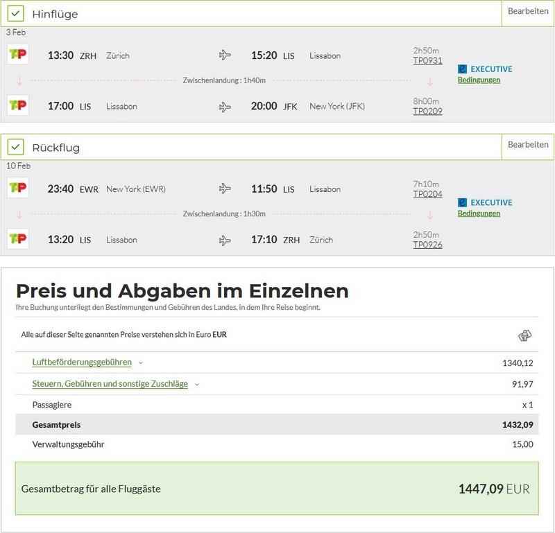 Preisbeispiel von Zürich nach New York in der TAP Air Portugal Business-Class
