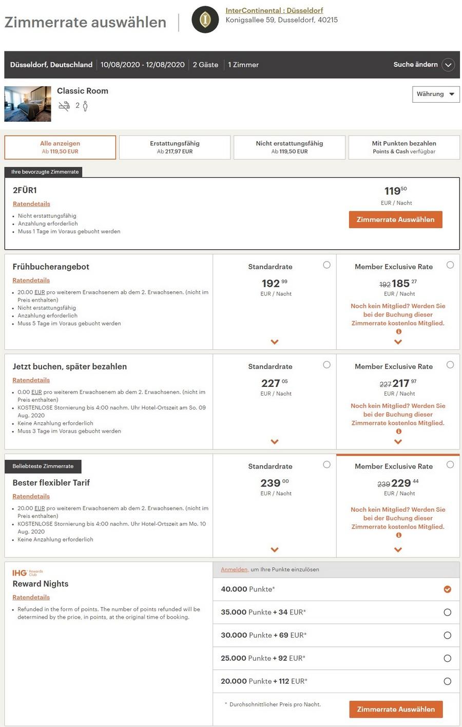 Verfügbarkeit des IHG 2=1 Angebotes für Buchungen bis 24.08.2020 im InterContinental Düsseldorf