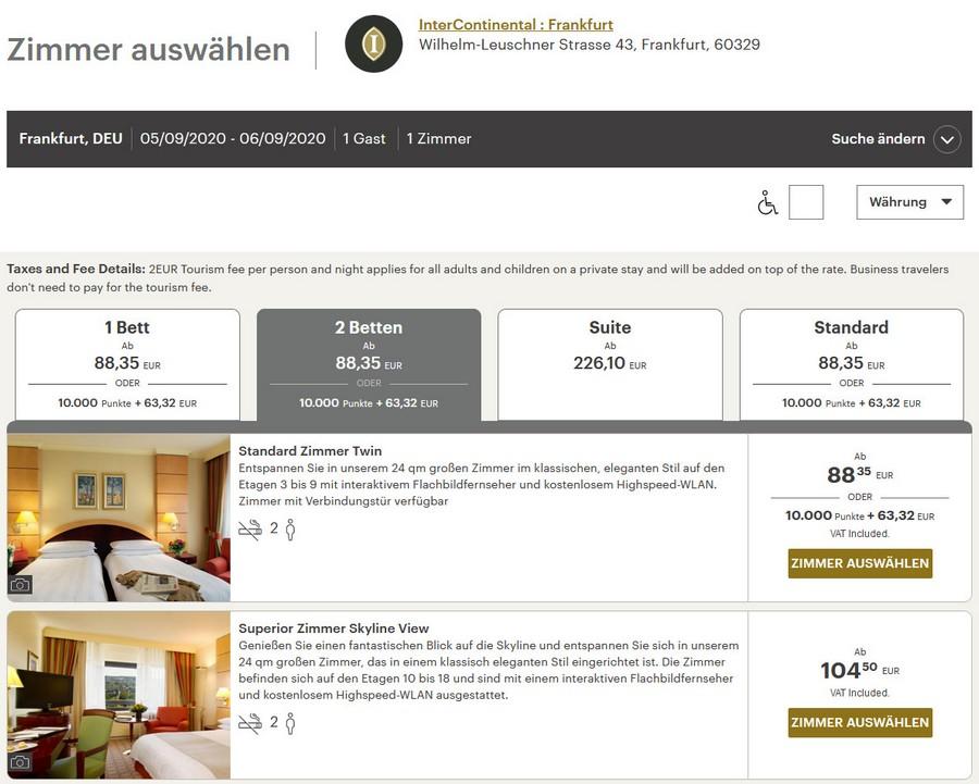 Zimmerpreise InterContinental Frankfurt