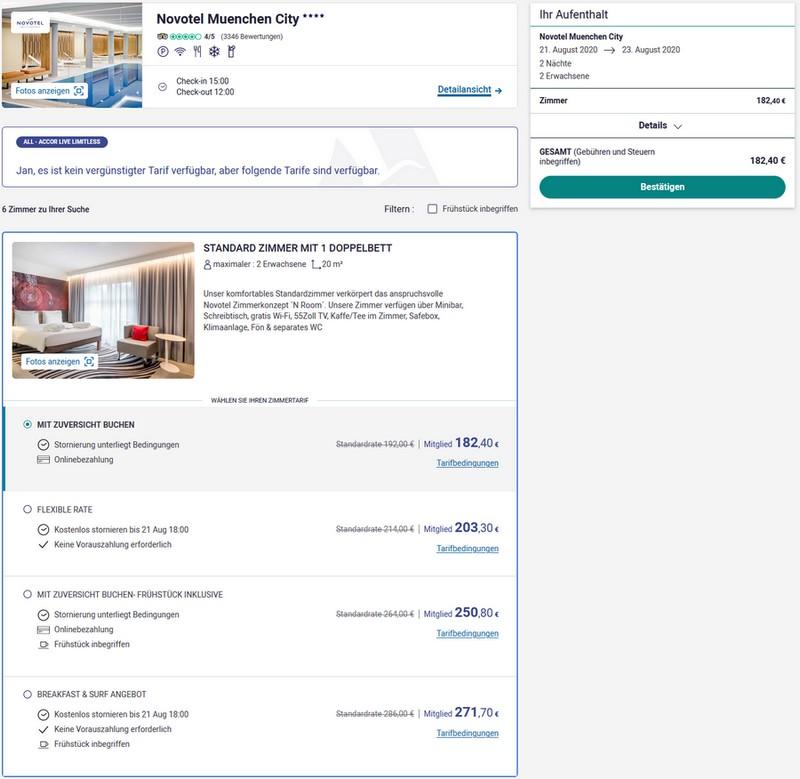 Reguläre Zimmerraten im Novotel München City