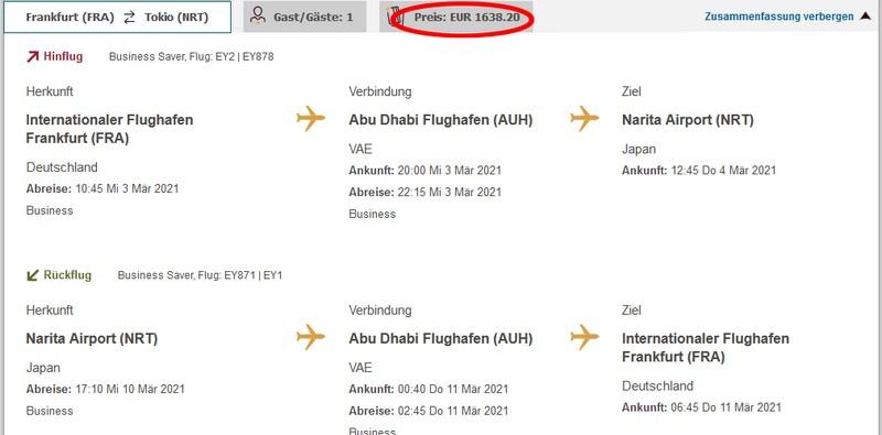 Preisbeispiel von Frankfurt nach Tokyo in der Etihad Airways Business-Class