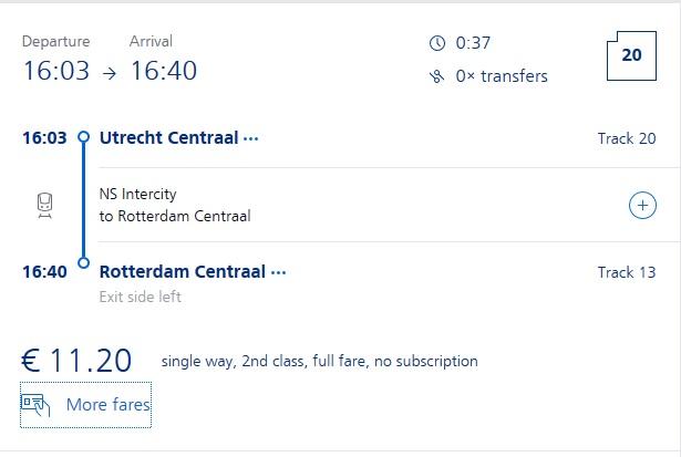 Preise für Bahnfahrt Utrecht - Rotterdam