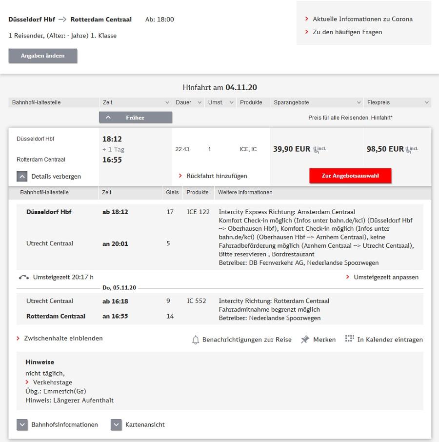 Preise für Bahnfahrt Düsseldorf - Rotterdam via Utrecht