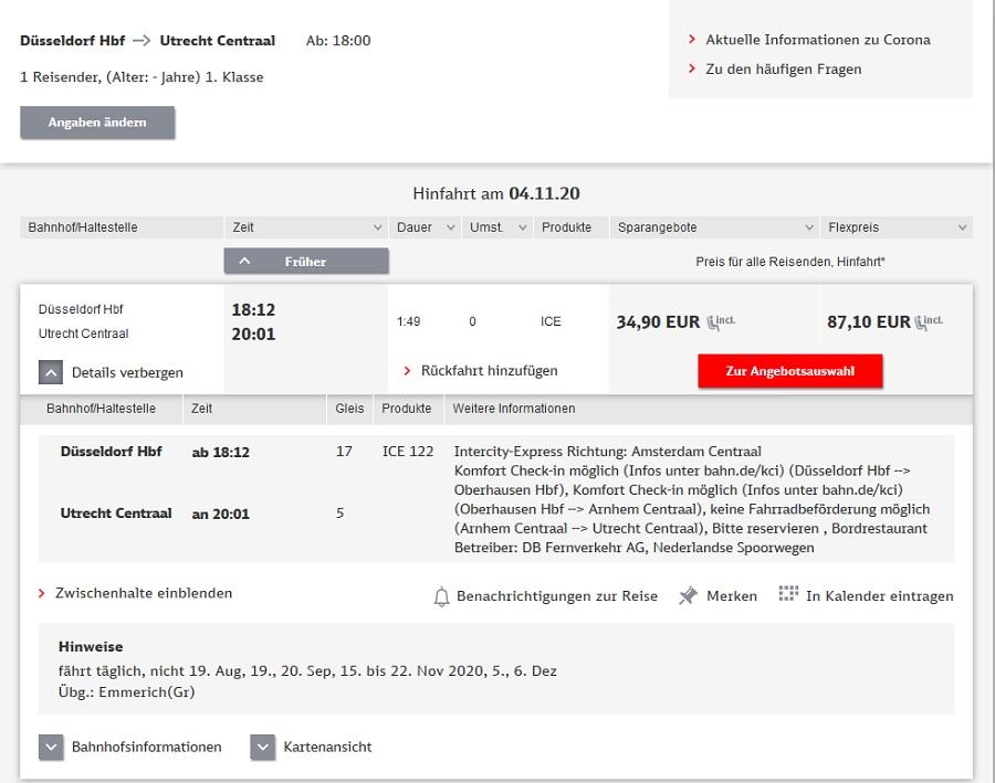 Preise für Bahnfahrt Düsseldorf - Utrecht