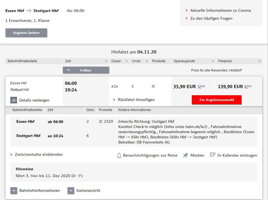 Preise für Bahnfahrt Essen - Stuttgart