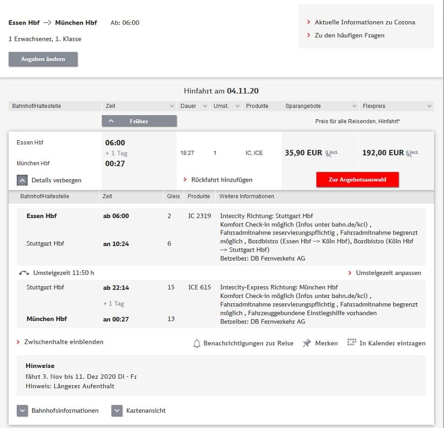 Preise für Bahnfahrt Essen - München via Stuttgart