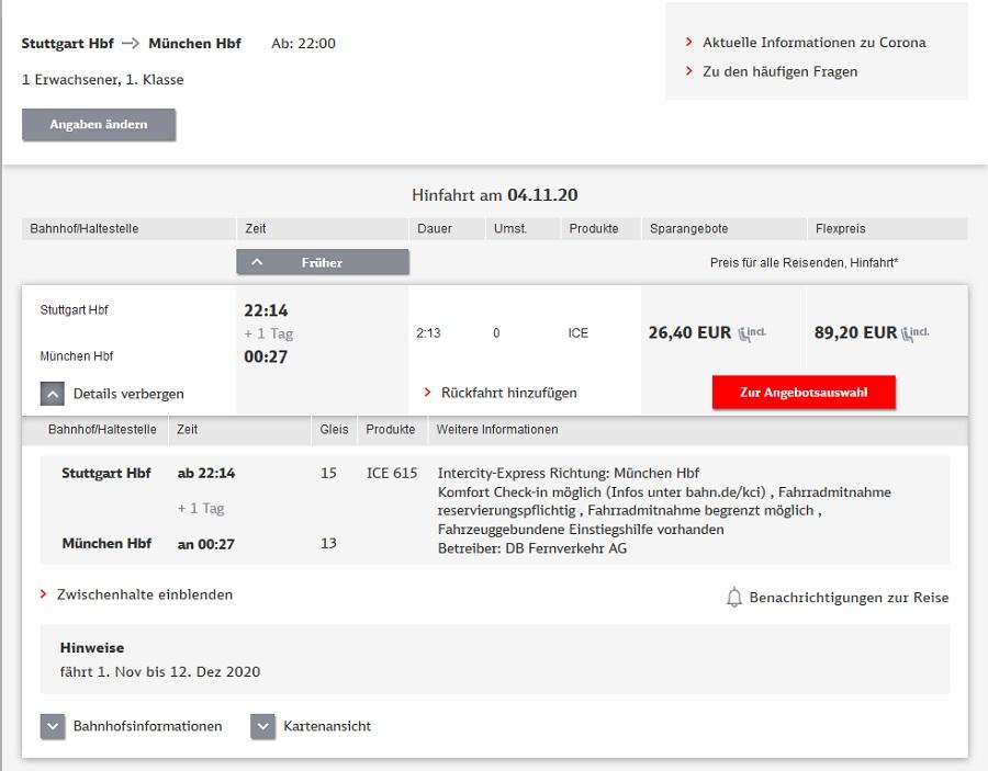 Preise für Bahnfahrt Stuttgart - München