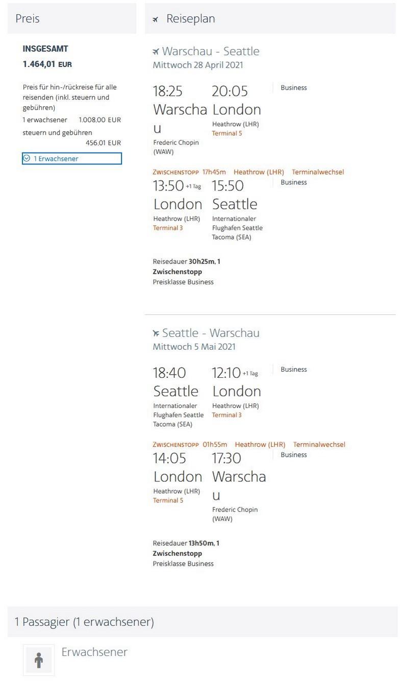 Preisbeispiel von Warschau nach Seattle in der American Airlines Business-Class