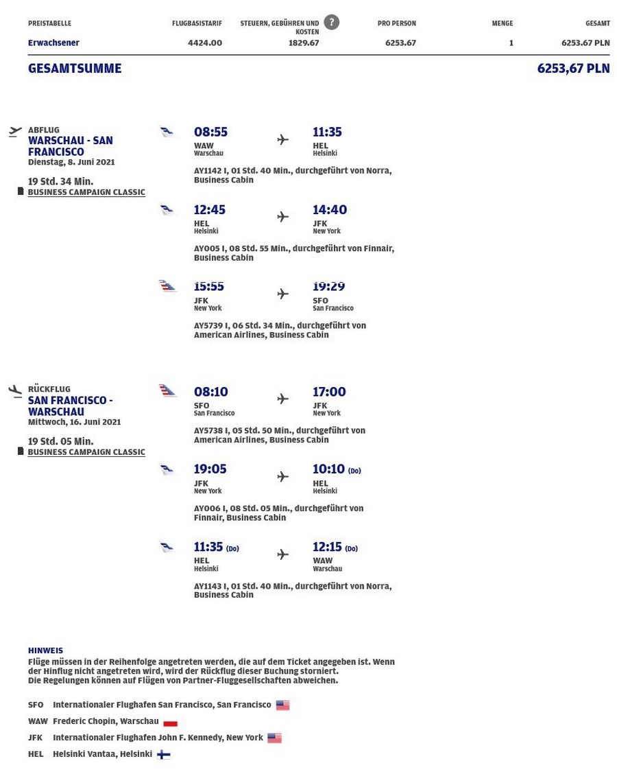 Preisbeispiel von Warschau nach Los Angeles in der Finnair Business-Class