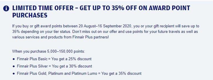 25% Ermäßigung beim Kauf von Finnair Punkten bis 16.09.2020