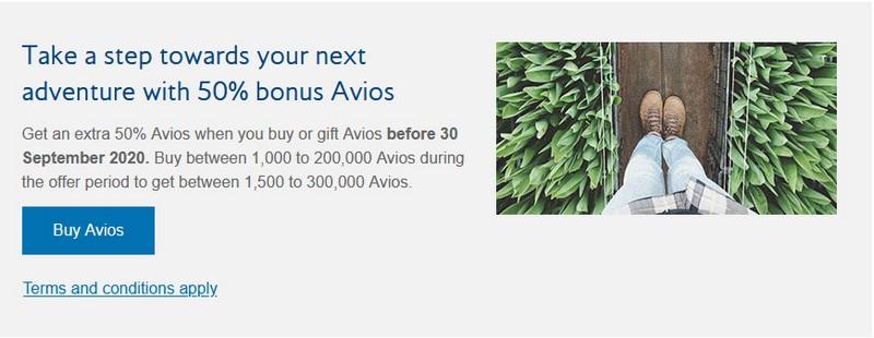 50% Bonus beim Kauf von Avios bis 30.09.2020