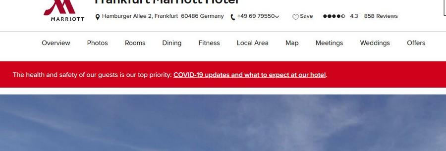 Aktuelle Informationen zum Coronavirus Service beim Marriott Frankfurt