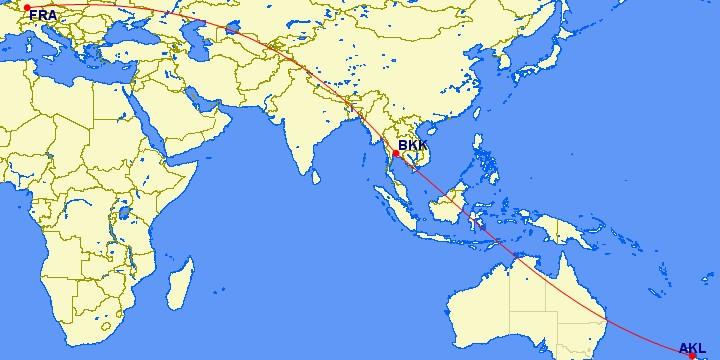 Flugstrecke Frankfurt - Bangkok - Auckland