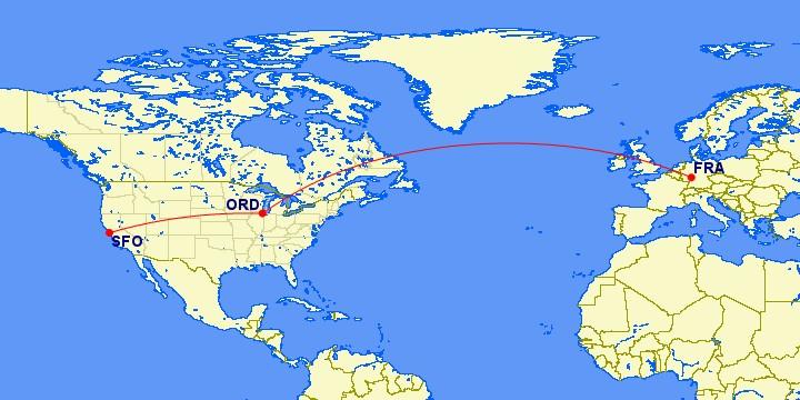 Flugstrecke Frankfurt - Chicago - San Francisco