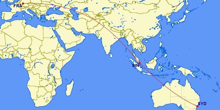 Flugstrecke Frankfurt - Singapore - Sydney