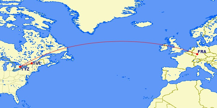 Flugstrecke Frankfurt - Montreal via Toronto