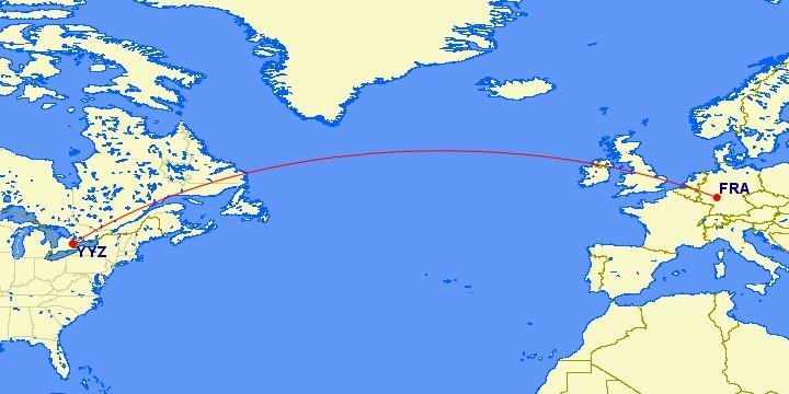 Flugstrecke Frankfurt - Toronto