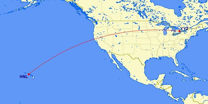 Flugstrecke Toronto - Honolulu
