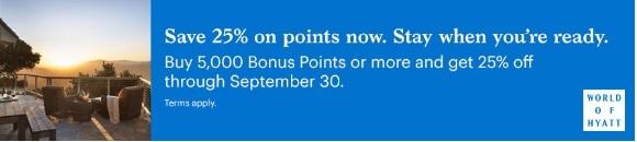 Hyatt Punkte mit 25% Ersparnis bis Ende September 2020
