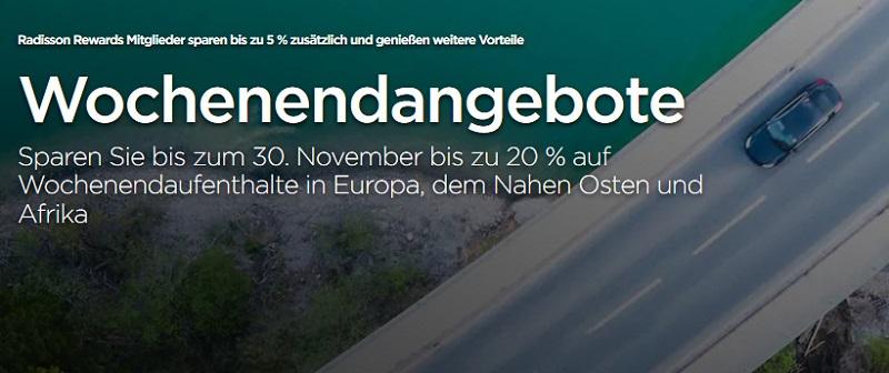 Radisson Weekend Herbst Sale für Buchungen bis 21.09.2020