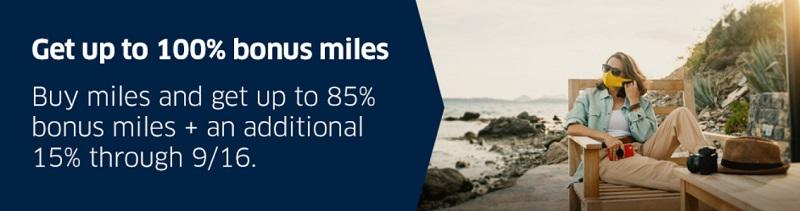 100% Bonus beim Kauf von Mileage Plus Meilen bis 16.09.2020