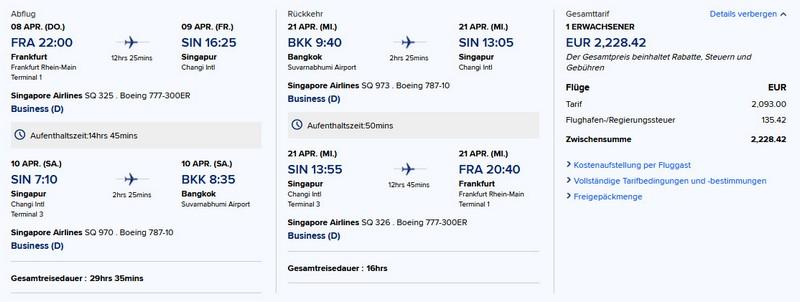 Preisbeispiel von Frankfurt nach Bangkok in der Singapore Airlines Business-Class