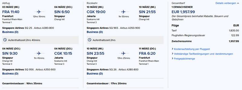 Preisbeispiel von Frankfurt nach Jakarta in der Singapore Airlines Business-Class