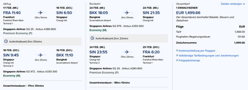 Preisbeispiel von Frankfurt nach Bangkok in der Singapore Airlines Premium-Economy-Class