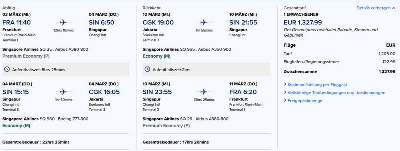 Preisbeispiel von Frankfurt nach Jakarta in der Singapore Airlines Premium-Economy-Class