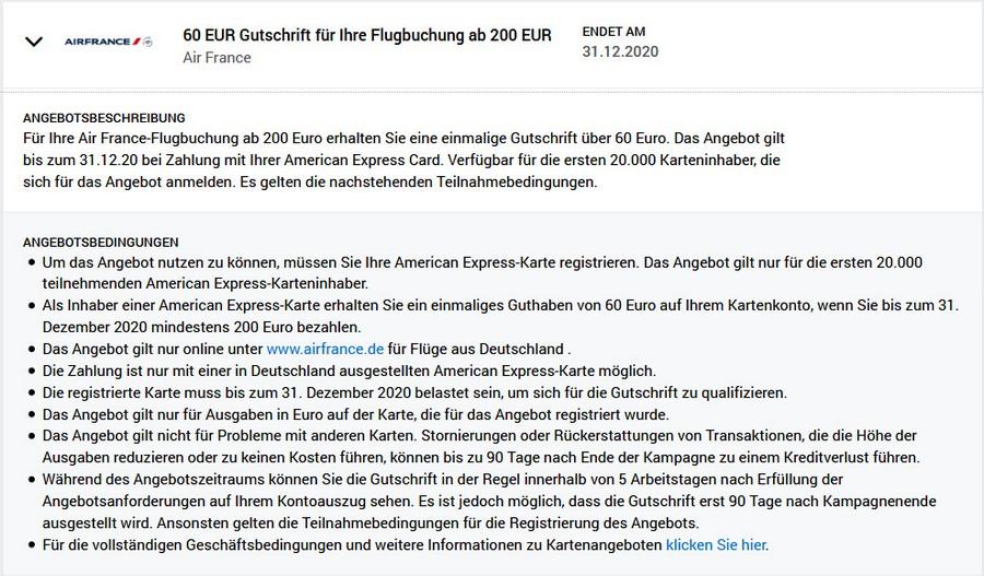 Gutschrift 60 EUR mit Air France bis 31.12.2020