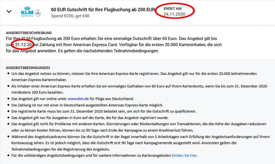 Gutschrift 60 EUR mit KLM bis 31.12.2020