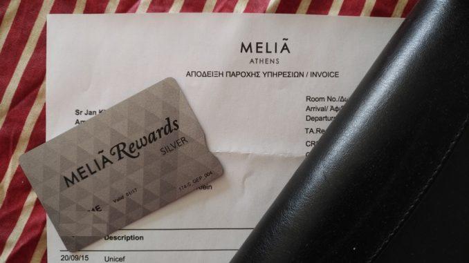 Melia Rewards Karte und Melia Athens Rechnung