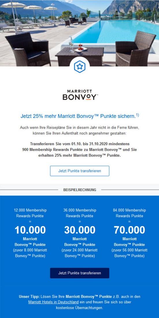 25% Bonus beim Transfer von Membership Rewards zu Marriott Bonvoy bis 31.10.2020