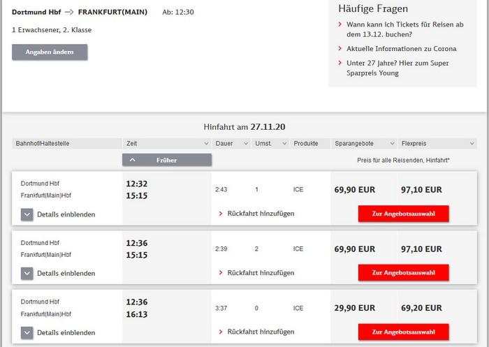 Preise für Bahnfahrt Dortmund - Frankfurt - 2. Klasse ohne BC 25