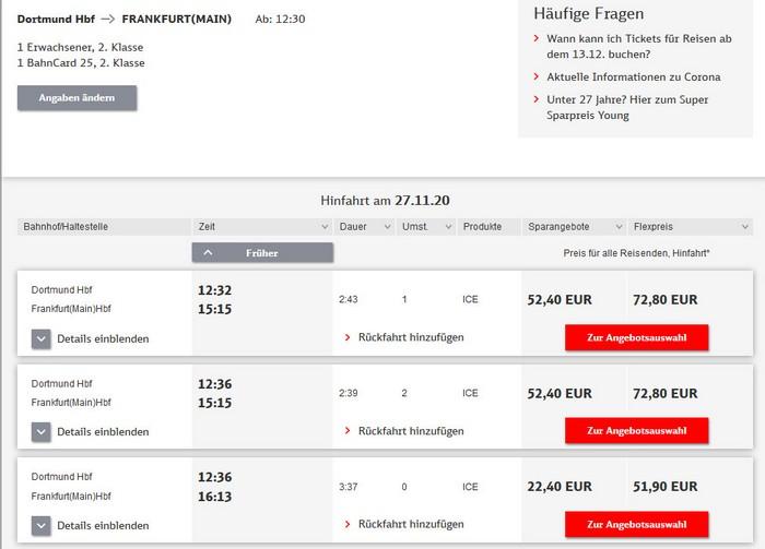 Preise für Bahnfahrt Dortmund - Frankfurt - 2. Klasse mit BC 25