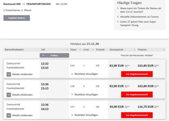Preise für Bahnfahrt Dortmund - Frankfurt - 1. Klasse ohne BC 25