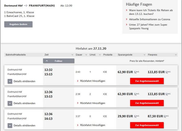 Preise für Bahnfahrt Dortmund - Frankfurt - 1. Klasse mit BC 25