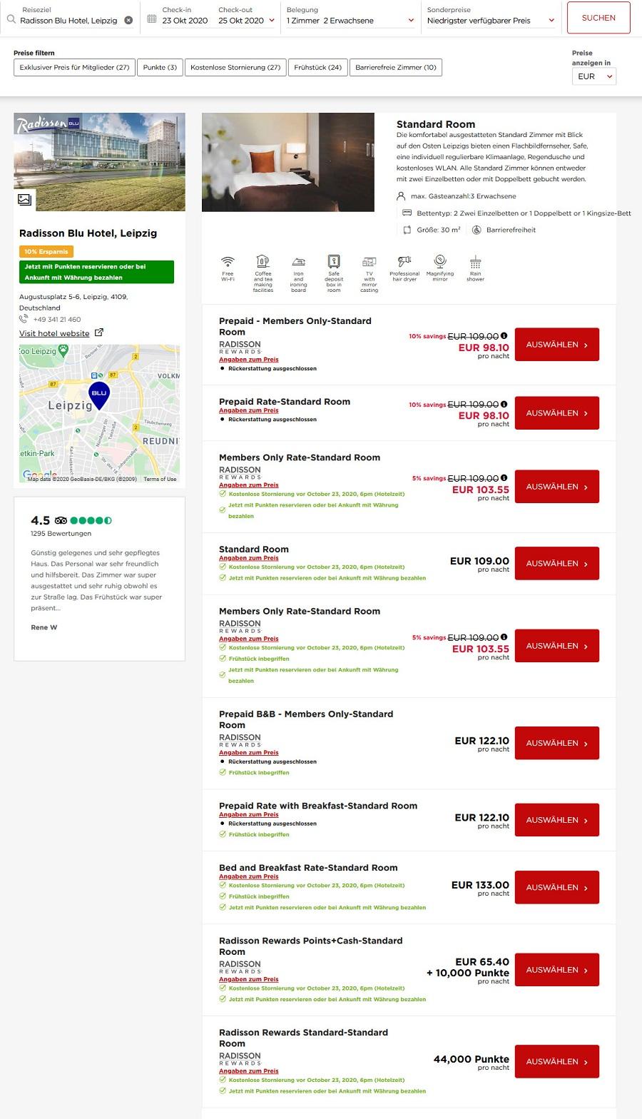 reguläre Raten im Radisson Blu Leipzig