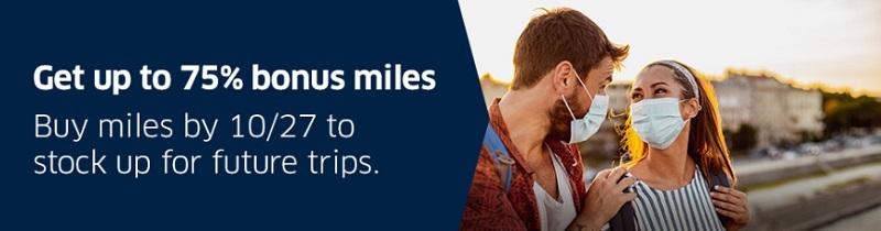 75% Bonus beim Kauf von Mileage Plus Meilen bis 27.10.2020