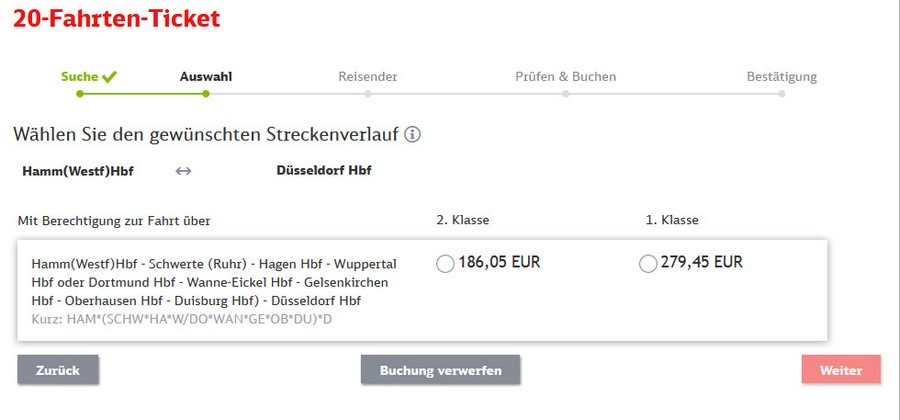Preise für 20-Fahrten-Ticket zwischen Hamm und Düsseldorf