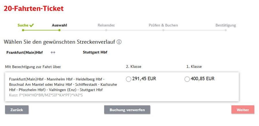 Preise für 20-Fahrten-Ticket zwischen Stuttgart und Frankfurt
