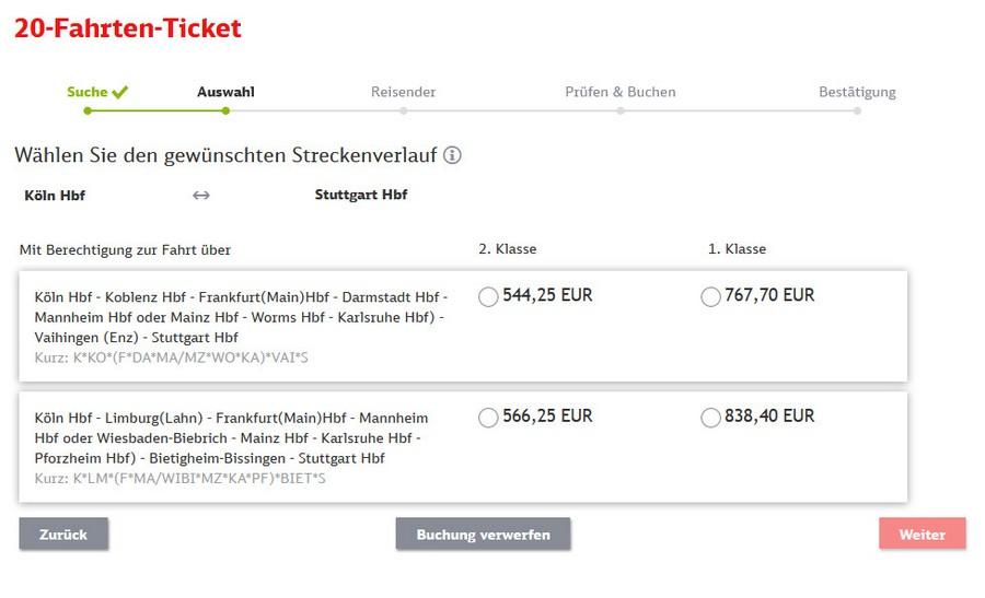 Preise für 20-Fahrten-Ticket zwischen Stuttgart und Köln