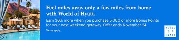 World of Hyatt Punkte mit 30% Bonus bis 24.11.2020