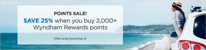 25% Ersparnis beim Kauf von Wyndham Punkten bis 09.11.2020