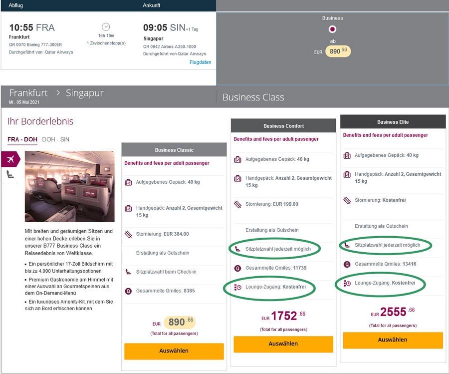 Änderungen bei den Qatar Airways Business-Class Tarifen